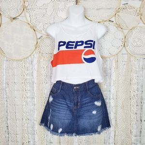 H&M Womens Pepsi Logo Graphic Sleeveless Crop Top